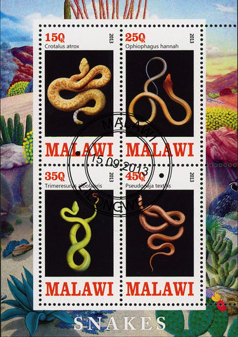 Malawi Snake Reptile Colorful Souvenir Sheet of 4 Stamps