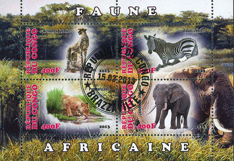 Congo African Fauna Lion Jaguar Zebra Elephant Souvenir Sheet of 4 Stamps