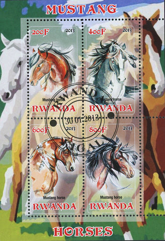 Mustang Horse Running Ocean Field Souvenir Sheet of 4 Stamps MNH