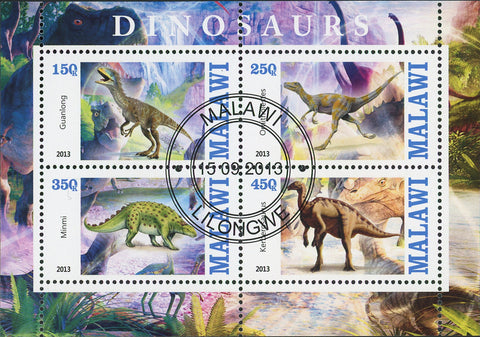 Malawi Dinosaur Jungle Pre Historic Animal Souvenir Sheet of 4 Stamps