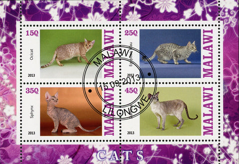 Malawi Cat Domestic Animal Ocicat Sphynx Souvenir Sheet of 4 Stamps