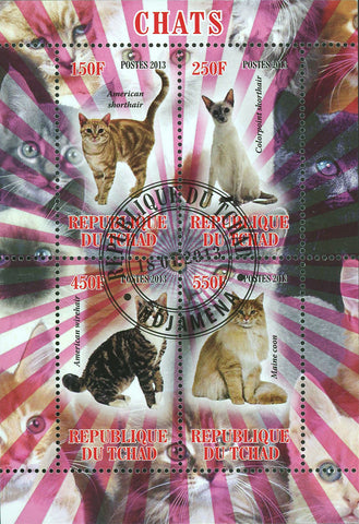 Chad Cat Domestic Animal American Shorthair Souvenir Sheet of 4 Stamps