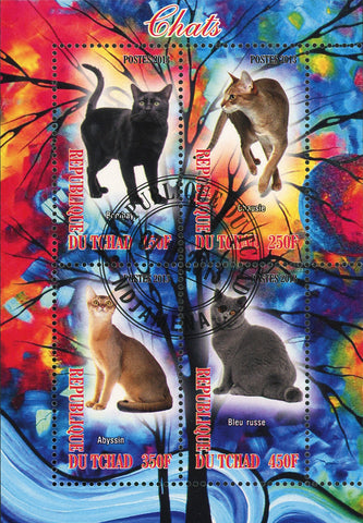 Chad Cat Domestic Animal Abyssin Chausie Souvenir Sheet of 4 Stamps