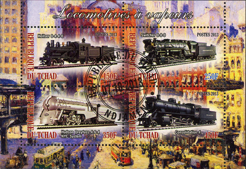 Steam Locomotives Train Transportation Souvenir Sheet of 4 Stamps