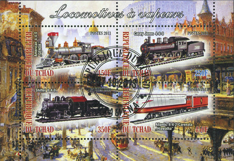 Steam Locomotives Transportation Antique Souvenir Sheet of 4 Stamps