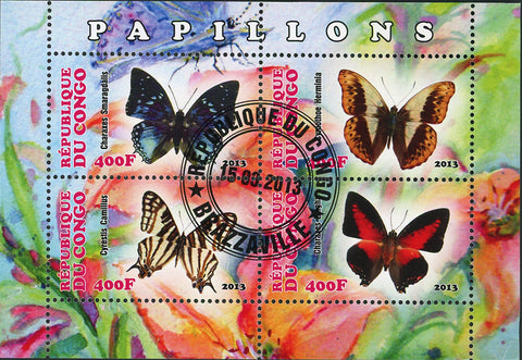 Congo Butterfly Exotic Insect Flower Plant Souvenir Sheet of 4 Stamps