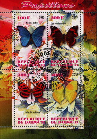 Butterfly Exotic Insect Flower Plant Souvenir Sheet of 4 Stamps