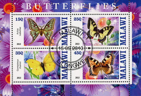Malawi Butterfly Exotic Insect Flower Plant Souvenir Sheet of 4 Stamps