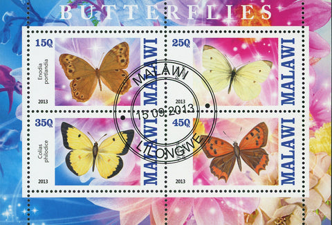 Malawi Butterfly Exotic Insect Flower Souvenir Sheet of 4 Stamps