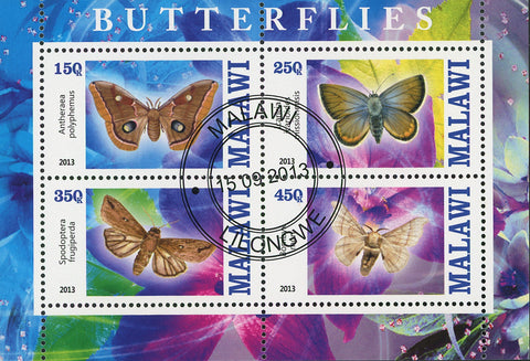 Malawi Butterfly Exotic Insect Flower Antheraea Souvenir Sheet of 4 Stamps