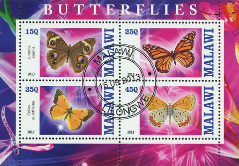 Malawi Butterfly Exotic Insect Flower Junonia Souvenir Sheet of 4 Stamps