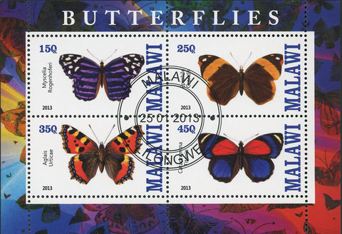 Malawi Butterfly Exotic Insect Aglais Urticae Souvenir Sheet of 4 Stamps