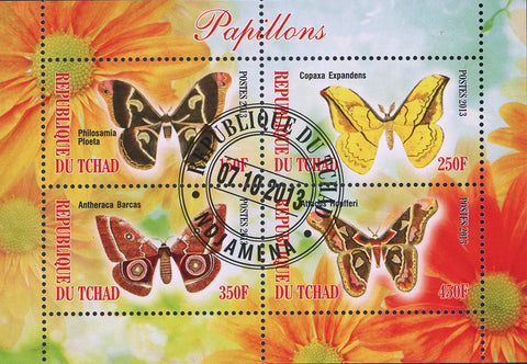 Butterfly Exotic Insect Flower Antheraca Barcas Souvenir Sheet of 4 Stamps