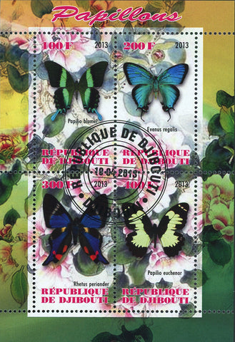 Butterfly Insect Flower Souvenir Sheet of 4 Stamps