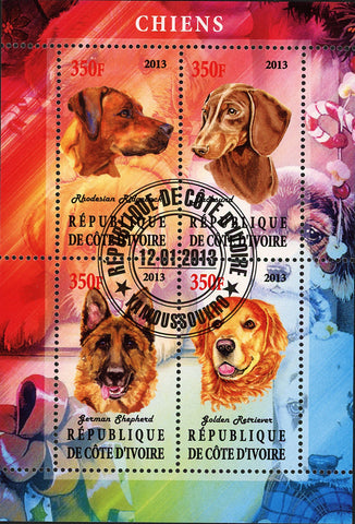 Cote D'Ivoire Dog Domestic Animals Souvenir Sheet of 4 Stamps