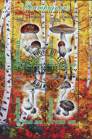 Mushroom Fungi Tree Leaf Autumn Fall Souvenir Sheet of 4 Stamps