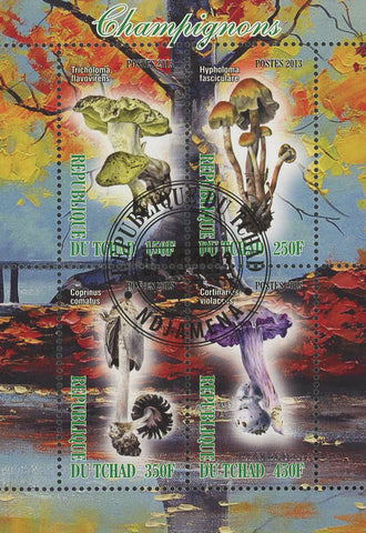 Mushroom Fungi Tree Leaf Autumn Lake Souvenir Sheet of 4 Stamps