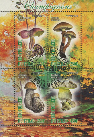 Mushroom Fungi Nature Tree Leaf Autumn Lake Souvenir Sheet of 4 Stamps