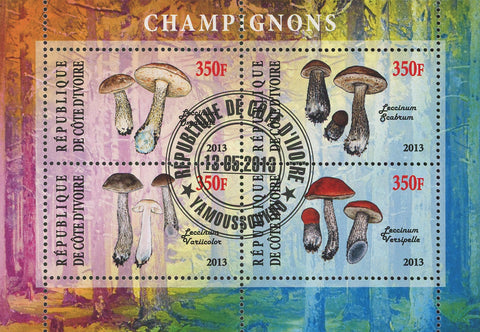 Cote D'Ivoire Mushroom Fungi Nature Tree Souvenir Sheet of 4 Stamps