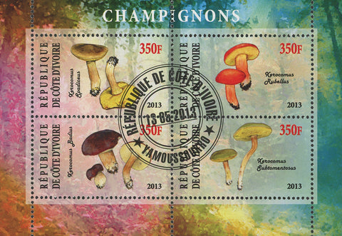 Cote D'Ivoire Mushroom Fungi Nature Souvenir Sheet of 4 Stamps