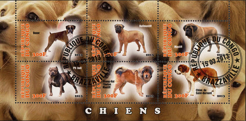 Congo Dog Domestic Animal Boxer Pit Bull Souvenir Sheet of 6 Stamps