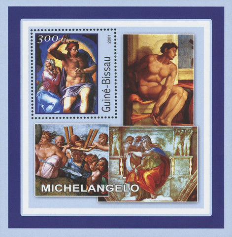 Guiné-Bissau Famous Art Painter Michelangelo Painting Souvenir Sheet Mint NH