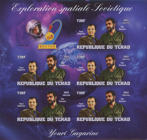 Chad Soviet Spatial Exploration Youri Gagarine Space Imp. Sov. Sheet of 5 MNH
