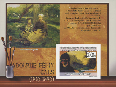 Guinea Famous Painter Adolphe Felix Cals Art Imperforated Souvenir Sheet Mint NH