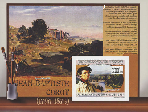 Guinea Art Paintings Jean-Baptise Corot Souvenir Sheet Mint NH