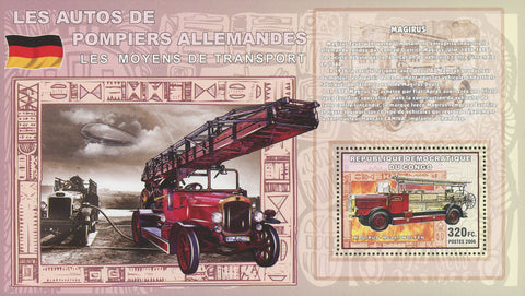Firemen's Vehicles Germany Transportation Stamp Souvenir Sheet MNH