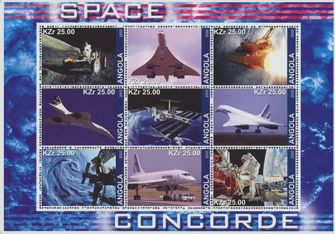 Angola Supersonic Planes Concorde Space Souvenir Sheet of 9 Stamps Mint NH