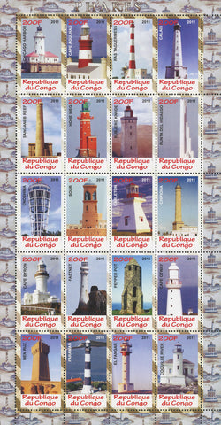Congo Famous Lighthouses Ocean Sky Architecture Souvenir Sheet of 20 Stamps Mint