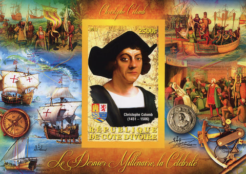 Christopher Columbus Ships Ocean Map Souvenir Sheet Mint NH