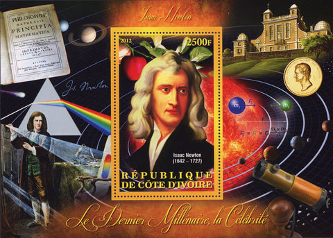 Isaac Newton Astronomer Physicist Souvenir Sheet Mint NH