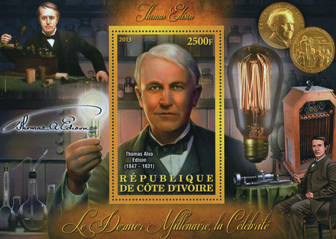 Cote D'Ivoire Thomas Edison Light Bulb Coin Science Souvenir Sheet Mint NH