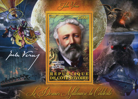 Cote D'Ivoire Jules Verne Stories Famous People Souvenir Sheet Mint NH