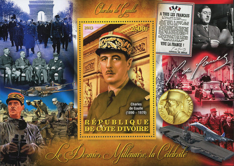 Cote D'Ivoire Charles de Gaulle General Military France Souvenir Sheet Mint NH