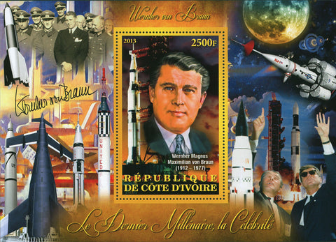 Cote D'Ivoire Wernher von Braun Engineering Space Astronautics Souvenir Sheet Mi