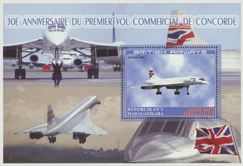 Madagaskar 1st Flight Anniversary Concorde Airplane Souvenir Sheet Mint NH