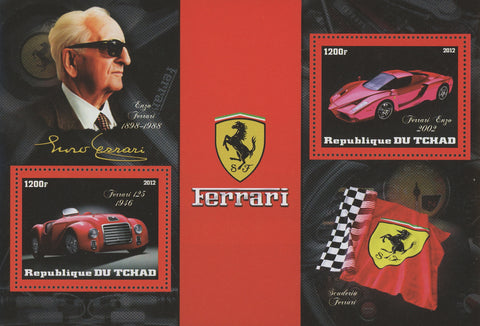 Ferrari Luxury Cars Enzo Ferrari Souvenir Sheet of 2 Stamps Mint NH