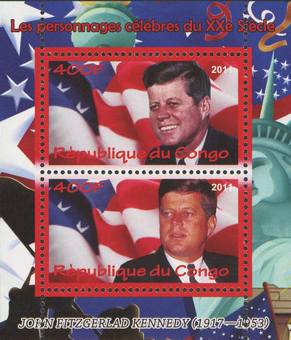 Congo John F. Kenny President USA Statue Liberty Souvenir Sheet  of 2 Stamps Min