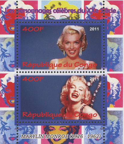 Marylin Monroe Famous Characters Souvenir Sheet of 2 Stamps Mint NH