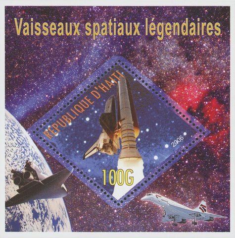 Haiti Spatial Trips Travel Legend Space Ship Moon Galaxy Souvenir Sheet Mint NH