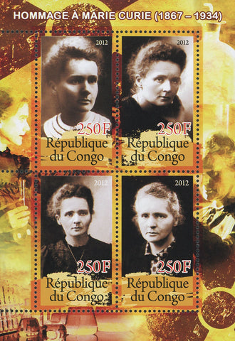 Congo Marie Curie Radioactivity Science Souvenir Sheet of 4 stamps Mint NH