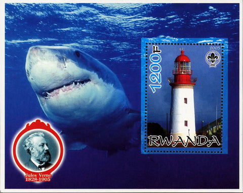 Sharks Fish Ocean Fauna Lighthouse Souvenir Sheet Mint NH