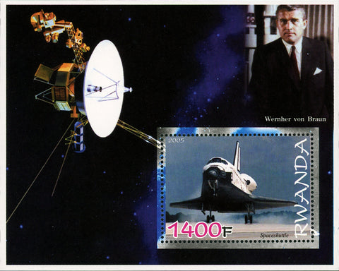 Satellite Space Astronautics Galaxy Space Ship Rocket Souvenir Sheet MNH