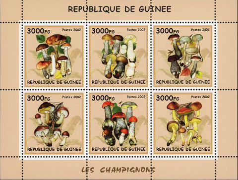 Guinea Mushrooms Fungi Nature Souvenir Sheet of 6 Stamps Mint NH