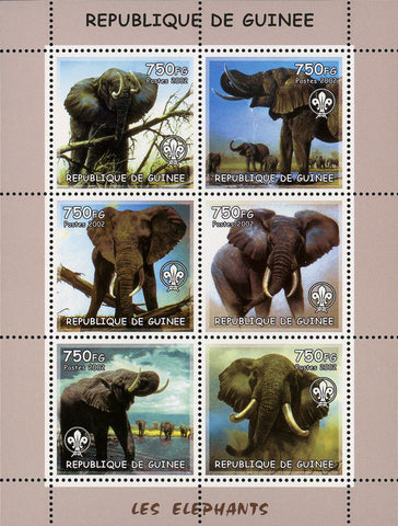 Guinea Elephants Wild Animals Lake Souvenir Sheet of 6 Stamps Mint NH