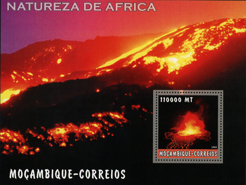 African Nature Volcano Lava Fire Souvenir Sheet Mint NH