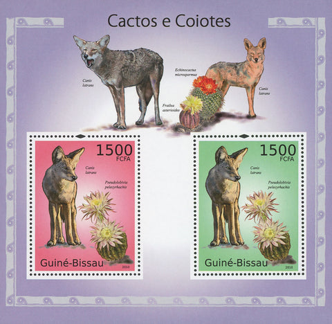 Guiné-Bissau Cactus and Coyotes Souvenir Sheet of 2 Stamps Mint NH